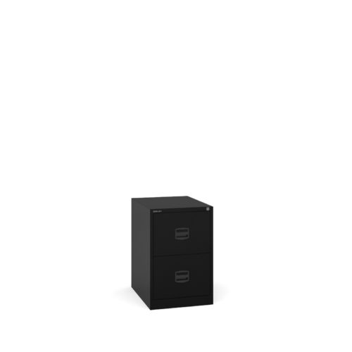 Steel 2 drawer contract filing cabinet 711mm high - black