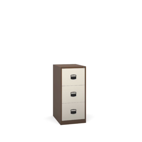 Steel 3 drawer contract filing cabinet 1016mm high - coffee/cream