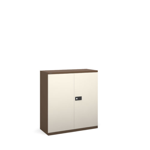 Steel contract cupboard with 1 shelf 1000mm high - coffee/cream