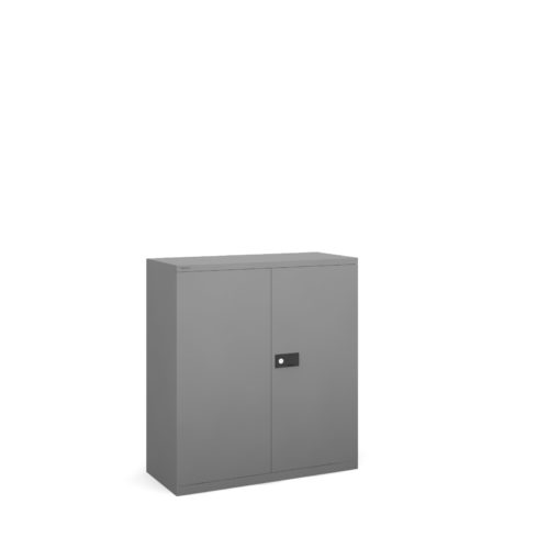 Steel contract cupboard with 1 shelf 1000mm high - goose grey