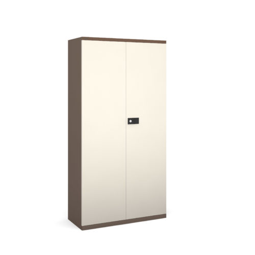 Steel contract cupboard with 3 shelves 1806mm high - coffee/cream