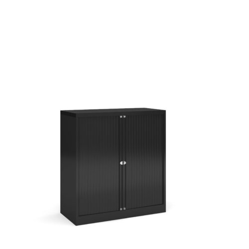 Steel low tambour cupboard 1000mm high - black