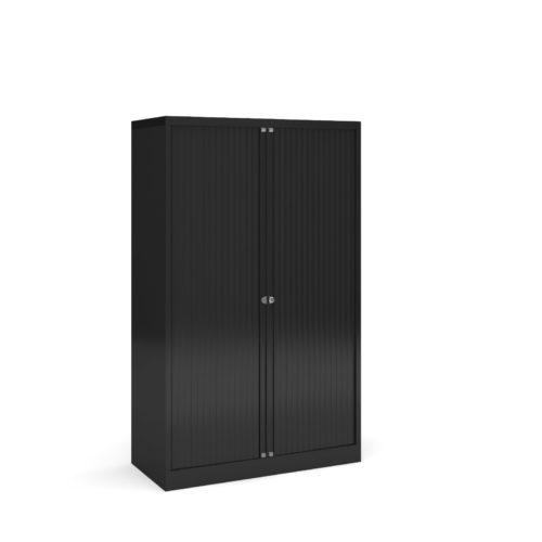 Steel medium tambour cupboard 1570mm high - black