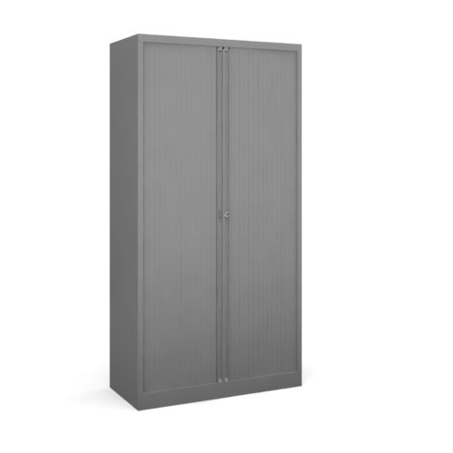 Steel high tambour cupboard 1970mm high - goose grey