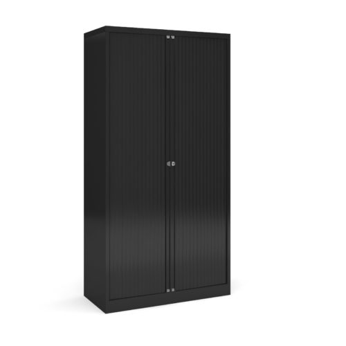 Steel high tambour cupboard 1970mm high - black