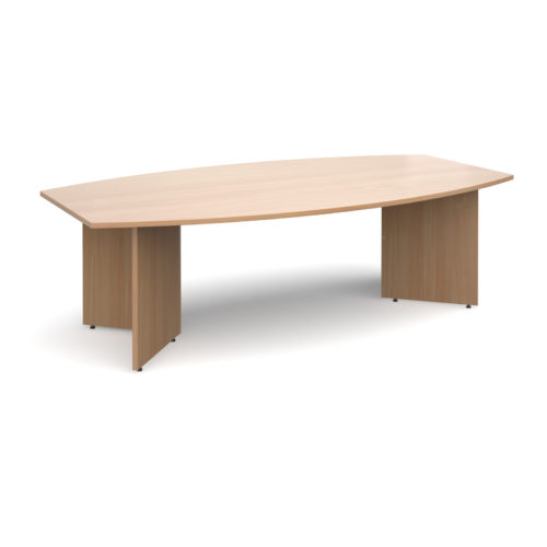 Arrow head leg radial boardroom table 2400mm x 800/1300mm - beech