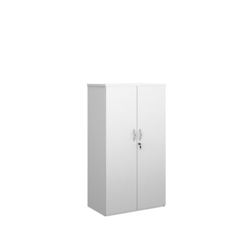 Universal double door cupboard 1440mm high with 3 shelves - white