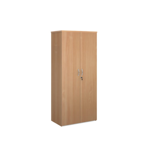 Universal double door cupboard 1790mm high with 4 shelves - beech