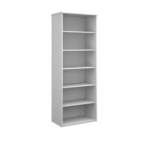 Universal bookcase 2140mm high with 4 shelves - white
